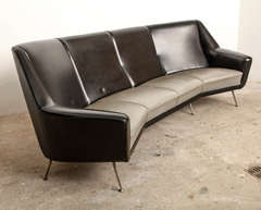 Black Large 1950s Italian Curved Sofa in Style of Gio Ponti ...